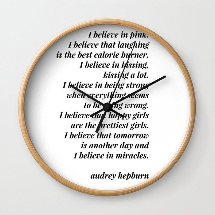 Audrey Hepburn quote Wall Clock