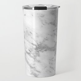 Marble - Silver and White Marble Pattern Travel Mug