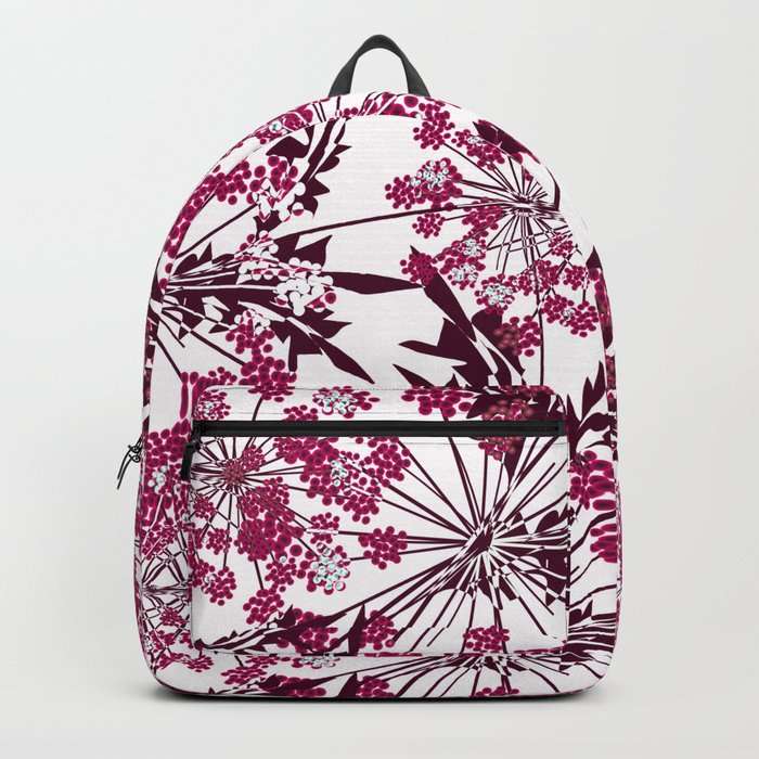 Laced crimson flowers on a white background. Backpack