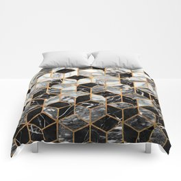 Marble Cubes - Black and White Comforters
