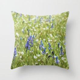 Camas and Dandelions Throw Pillow