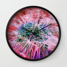 Dandelion in Red Wall Clock