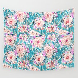 WAHINE WAYS Aqua Tropical Floral Wall Tapestry