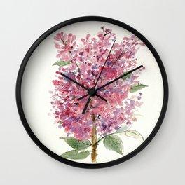 Pink Lilacs Floral Watercolor Garden Flower Nature Art Wall Clock