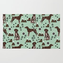German Shorthair Pointer mountain hiking hiker outdoors camping dog breed Rug