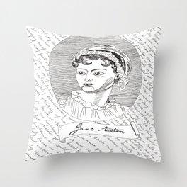 Jane Austen author portrait with Pride and Prejudice quotes Throw Pillow