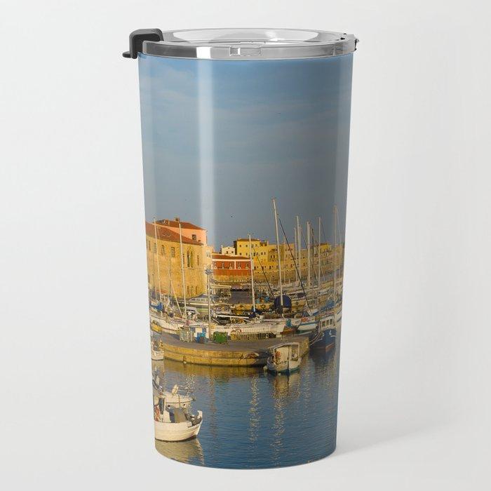 Dusk In The Port Travel Mug