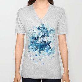 Three Sea Turtles, blue bathroom turtle artwork, Underwater Unisex V-Neck