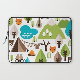 Wild camping trip with fox and wild animals illustration Laptop Sleeve