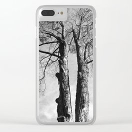 Pair of Trees (Black and White) Clear iPhone Case