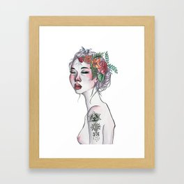 Wicked Woman Ink and Watercolour Illustration Framed Art Print