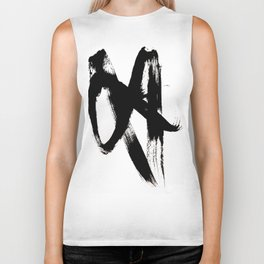 Brushstroke 2 - simple black and white Biker Tank
