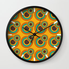 1970's Retro Circles Design Orange Brown & Blue Wall Clock