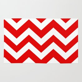 Electric red - red color - Zigzag Chevron Pattern Rug