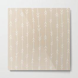 Arrow Pattern: Beige Metal Print
