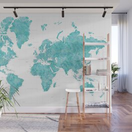 Highly detailed watercolor world map in aquamarine Wall Mural