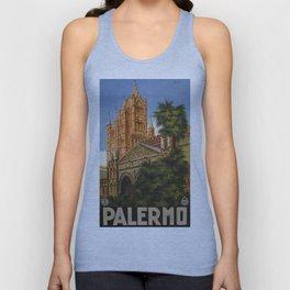 vintage Palermo Sicily Italian travel ad Unisex Tank Top
