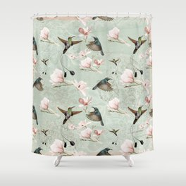 Vintage Watercolor Hummingbird And Magnolia Flowers On Mint Background Shower Curtain