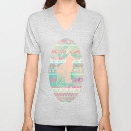 Whimsical Cat, Pink Turquoise Girly Aztec Pattern Unisex V-Neck