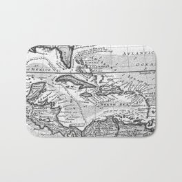 Vintage Map of the Caribbean (1732) BW Bath Mat