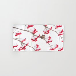 Cute Squirrel With Red Rowan Berries On A White Background #decor #society6 #buyart Hand & Bath Towel