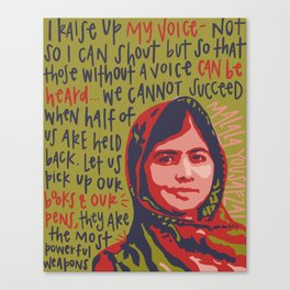 Malala Yousafzai. Canvas Print
