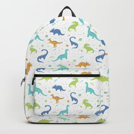 Space Dinosaurs on White (Orange + Blue) Backpack