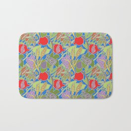 Seven Species Botanical Fruit and Grain with Blue Background Bath Mat