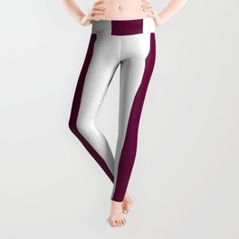 Tyrian purple - solid color - white vertical lines pattern Leggings