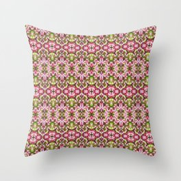 Delicate Floral Stripes Throw Pillow