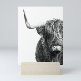 Highland Cow Portrait - Black and White Mini Art Print