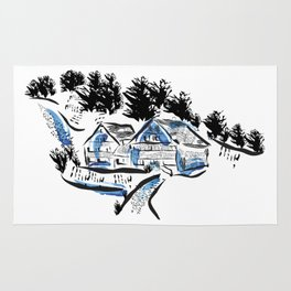 Linocut, House Number 3 Rug