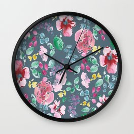 Pink Flowers on Gray Wall Clock