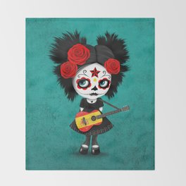 Day of the Dead Girl Playing Spanish Flag Guitar Throw Blanket