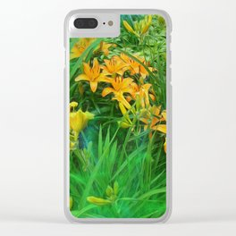 Day-glo Lilies Clear iPhone Case