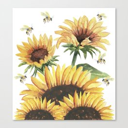 Sunflowers and Honey Bees Canvas Print