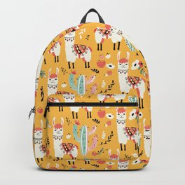 White Llama with flowers Backpack