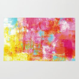 OFF THE GRID 2 Colorful Pink Pastel Neon Abstract Watercolor Acrylic Textural Art Painting Rainbow Rug