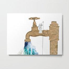 Paper Faucet Metal Print