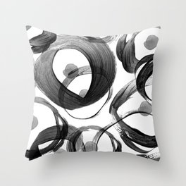 Modern abstract black white hand painted brushstrokes Throw Pillow