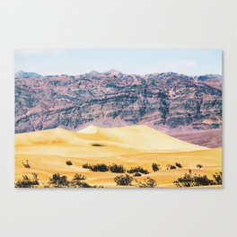 sand desert with mountain background at Death Valley national park, USA Canvas Print