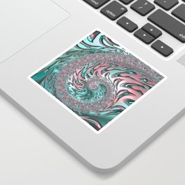 Coral and Teal Spiral Sticker