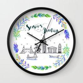 Christmas Europe Wall Clock