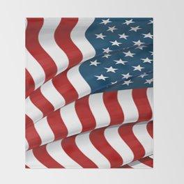 WAVY AMERICAN FLAG JULY 4TH ART Throw Blanket