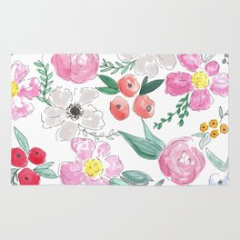 Floral Peony and Rose Watercolor Print  Rug