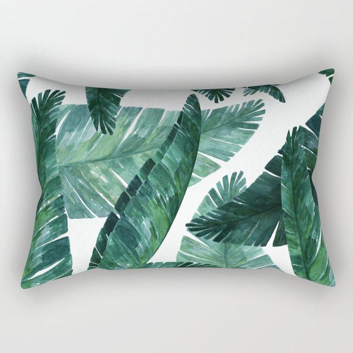Blue-green banana leaves. Rectangular Pillow