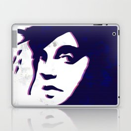 street art style girl in blue and pink on marble pattern Laptop & iPad Skin