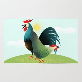 Morning Glory Rooster And Hen Wake Up Call Rug