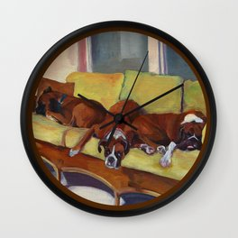 Boxer Dog Siesta Wall Clock