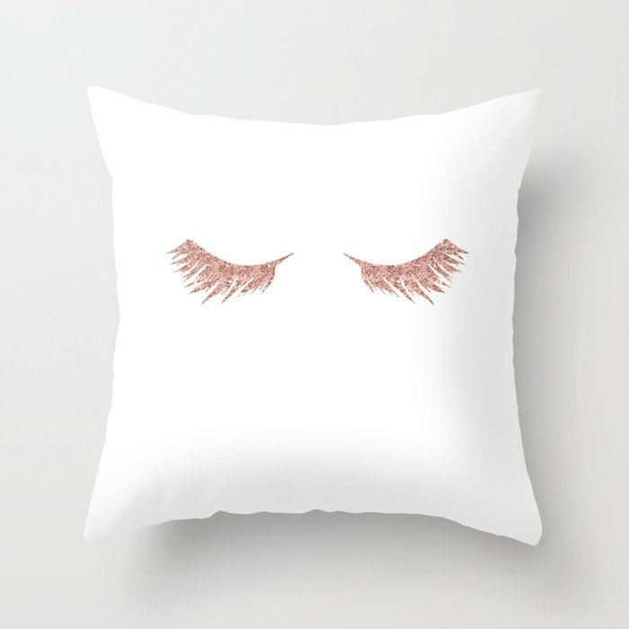 Pretty Lashes Rose Gold Glitter Pink Throw Pillow